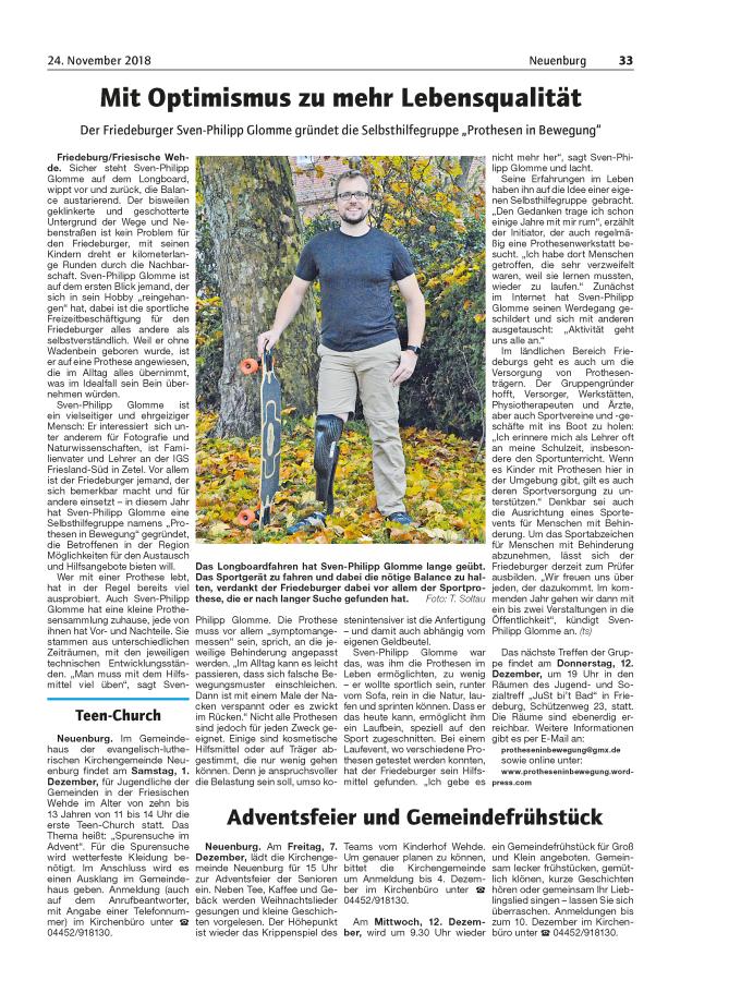 Artikel aus dem Friesländer Boten vom 24.11.2018